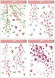 Okenní fólie větve v květu s glitry, 30x42 cm/994