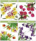 Okenní fólie rohová květiny s glitry, 30x33,5 cm/993