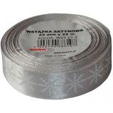 Stuha atlasová - vánoční 25mm stříbrná