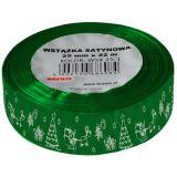 Stuha atlasová - vánoční 25mm zelená