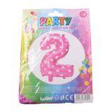 Nafukovací balónek ve tvaru čísla 2 - růžový