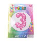 Nafukovací balónek ve tvaru čísla 3 - růžový