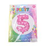 Nafukovací balónek ve tvaru čísla 5 - růžový