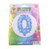 Nafukovací balónek ve tvaru čísla 0 - modrý