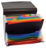 Aktovka s přihrádkami Rainbow Class, černá, 12+6 částí, PP, VIQUEL
