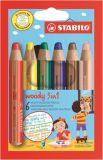 Barevné pastelky Woody, 6 barev, maxi, 3v1 – pastelky, vodovka, voskovka, STABILO