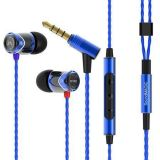 Sluchátka do uší E10C, modro-černá, s mikrofonem, kov, SOUNDMAGIC