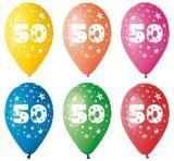 Balónek, s číslem 50, 26 cm ,balení 5 ks
