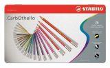 Křídové pastelové barevné pastelky CarbOthello, sada, 36 barev, kulaté, kovová krabička, STABILO