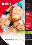 Fotografický papír Best Price, do inkoustové tiskárny, lesklý, A4, 140g, APLI ,balení 100 ks