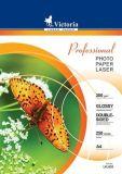 Fotografický papír Professional, do laserové tiskárny, lesklý, A4, 200g, oboustranný, VICTORIA ,balení 250 ks