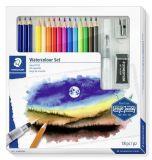 Akvarelové pastelky Design Journey, sada 12ks, se štětcem, pryží, ořezávátkem, graf. tužkami, STAE