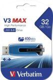 USB flash disk V3 MAX, modrá-černá, 32GB, USB 3.0, 175/80MB/sec, VERBATIM