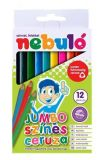 Barevné pastelky, sada 12ks barev, jumbo, trojhranné, NEBULO ,balení 12 ks