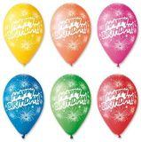 Balónek, Happy Birthday, ohňostroj, 30 cm ,balení 10 ks