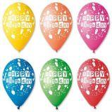 Balónek, Happy Birthday, balónky, 30 cm ,balení 10 ks