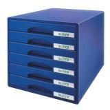 Zásuvkový box Plus, modrá, plast, 6 zásuvek, LEITZ