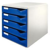 Zásuvkový box, modrá, plast, 5 zásuvek, LEITZ