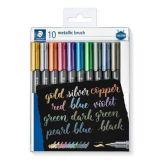 Štětcové fixy Design Journey Metallic Brush, 10 metalických barev, 1-6 mm, STAEDTLER 8321 TB10