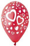 Balónek, červená, srdíčka, 30 cm ,balení 10 ks
