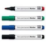 Sada nepermanentních popisovačů, 4 různé barvy, 1-3 mm, kuželovitý, SIGEL ,balení 4 ks