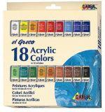 Sada Akrylová barva EL GRECO, 18 barev, 12 ml v tubě, KREUL