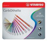 Křídové pastelové barevné pastelky CarbOthello, sada, 24 barev, kulaté, kovová krabička, STABILO
