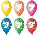 Balónek, s číslem 7, 26 cm ,balení 5 ks