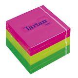 Samolepící bloček, 76x76 mm, 100 lístků,TARTAN, mix neon barev  ,balení 600 ks