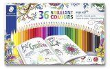 Barevné pastelky Ergo Soft, 36 barev, trojúhelníkový tvar, kovový box, STAEDTLER