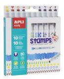 Fixy Duo Stamps, mix barev a motivů, 10 ks, na razítkování, APLI