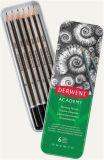 Sada grafitových tužek Academy, v plechové krabičce, 6 různých velikostí, šestihranný tvar, DERWEN