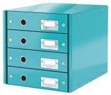 Zásuvkový box Click&Store, modrá, 4 zásuvky, lesklý, LEITZ
