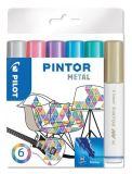 Set dekorativních popisovačů Pintor M, metalická, 6 barev, 1,4 mm, PILOT