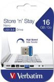 USB flash disk NANO STORE ´N´ STAY, 16GB, USB 3.0, 80/25MB/sec, VERBATIM