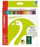 Barevné pastelky GreenColours, 24ks, šestihranné, STABILO