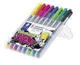 Permanentní popisovače Lumocolor 318F, 8 barev, 0,6 mm, STAEDTLER 318 WP8-1