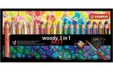 Barevné tužky Woody ARTY 3 in 1, 18 různých barev, kulatá, silná, STABILO
