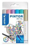 Set dekorativních popisovačů Pintor F, metalická, 6 barev, 1 mm, PILOT