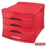 Zásuvkový box Europost, 4 zásuvky, Vivida červená, plast, ESSELTE