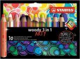 Barevné tužky Woody ARTY 3 in 1, 10 různých barev, kulatá, silná, STABILO