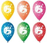 Balónek, s číslem 6, 26 cm ,balení 5 ks