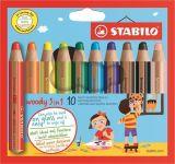 Barevné pastelky Woody, 10ks, 3v1 – pastelka, vodovka, voskovka,  STABILO