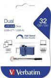 32GB USB Flash 3.0 + USB-C adaptér, VERBATIM DUAL