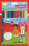 Barevné pastelky Color, sada, 18 různých barev, šestihranný tvar, STABILO
