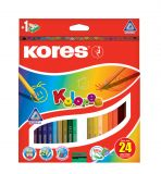 Pastelky trojhranné Kores Kolores - 24 barev
