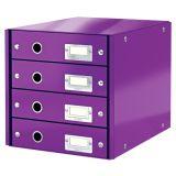 Zásuvkový box WOW - purpurová  / 4 zásuvky / karton