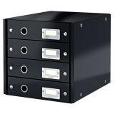 Zásuvkový box WOW - černá  / 4 zásuvky / karton