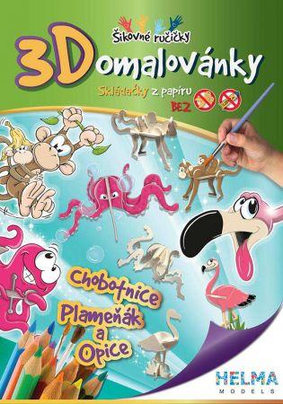 3D omalovánky Chobotnice, opice,plameňák A4
