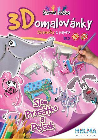3D omalovánky Slon,prasátko, pes A4